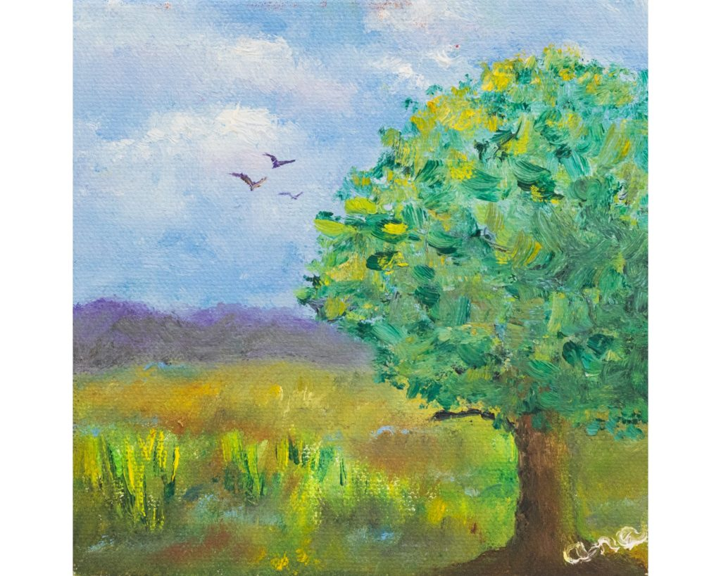 photography - Artwork copy photography green and blue tree with birds painting