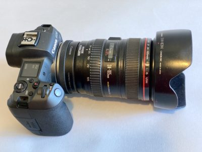 Photo gear essentials lens hood on Canon camera