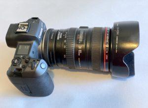 Photo gear essentials lens hood on Canon camera