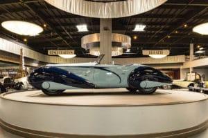 Beautiful Oxnard Mullin Automotive Museum Delahaye on turntable