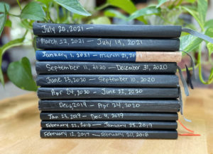 Stack of journals with spines showing dates