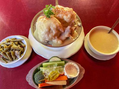 Enormous chicken and dumplings meal in Troutdale Oregon
